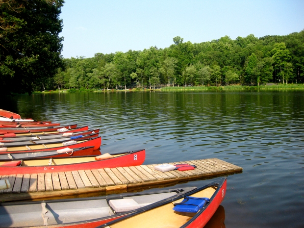 Summer time shot of Mt. Gretna Lake in Mt. Gretna PA with boats in forefront