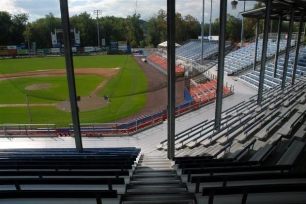 View of baseball field from seats at Harrisburg City Island, home of Harrisburg City Senators baseball